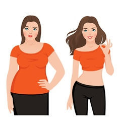 Before and after weight loss fat and slim woman vector image