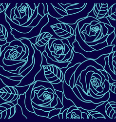 blue outline roses pattern vector image