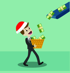 Businessman or manager in christmas hat has a vector