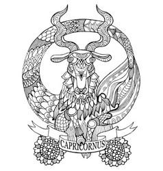 Capricorn zodiac sign coloring book vector