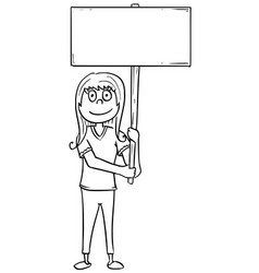 Cartoon of girl woman holding empty sign vector