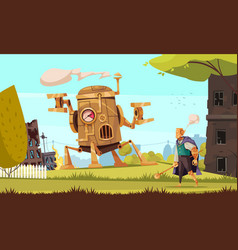 cartoon steampunk vector image