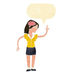 Cartoon woman with clever idea with speech bubble vector