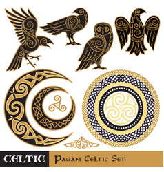 Celtic magic set celtic horned moon and sun vector
