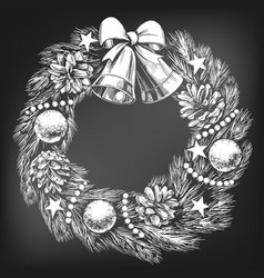 christmas wreath symbol of christianity hand drawn vector image