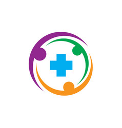 circle human plus healthcare logo vector image vector image