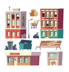 City ghetto architecture elements cartoon vector
