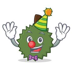 Clown durian mascot cartoon style vector