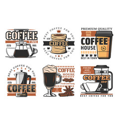 coffee house cafeteria and production icons vector image