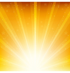 Colden Background With Sunburst And Stars vector image