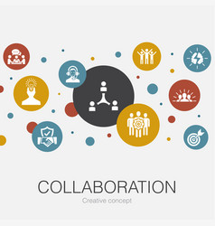 Collaboration trendy circle template with simple vector
