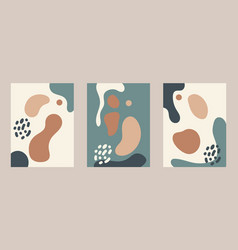 Collection posters with abstract fluid shapes vector
