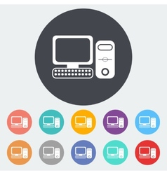 Computer flat icon 2 vector image