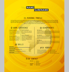 Creative simple cv template on yellow background vector