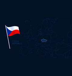 czech republic on europe map high quality map vector image
