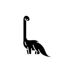 diplodocus black icon sign on isolated vector image