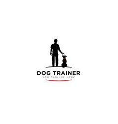 Dog trainer logo with black human modern logo vector