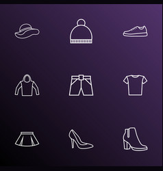dress icons line style set with t-shirt beanie vector image