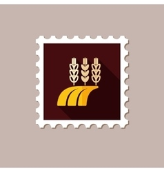 Ears of Wheat Barley or Rye on Field flat stamp vector