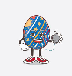 Easter egg cartoon mascot character as a doctor vector