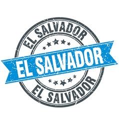 El Salvador blue round grunge vintage ribbon stamp vector