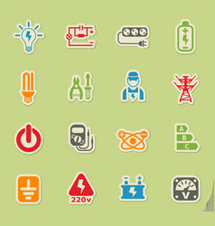 Electricity icon set vector
