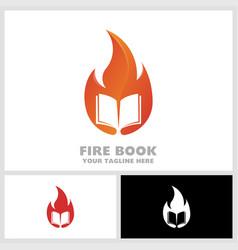 fire book logo book on hot learn logo vector image
