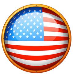 Flag america in round badge vector