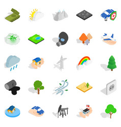 flammable icons set isometric style vector image