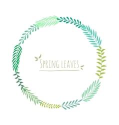 frame green leaves vector image