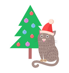Funny cat in red hat sitting near christmas tree vector