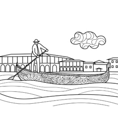 Gondola coloring book for adults vector image