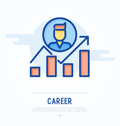 Graph of career growth with arrow vector
