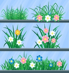 Grass and flowers set of elements for your vector