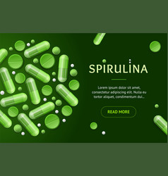 green spirulina pills concept banner horizontal vector image