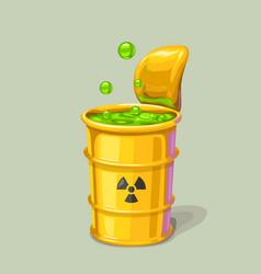 Green toxic waste in metal barrel vector