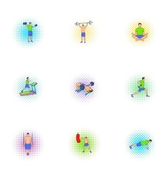 Gym icons set pop-art style vector image vector image