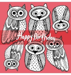 Happy birthday Decorative Hand dravn Cute Owl vector