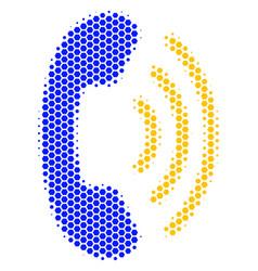 Hexagon halftone phone ring icon vector