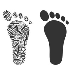 Human footprint collage of repair tools vector