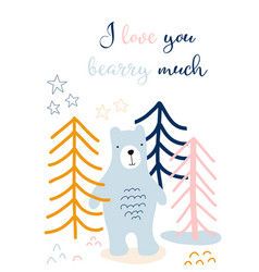 i love you card kids scandinavian style with cute vector image