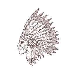 Indian chief head native american headdress sketch vector