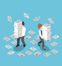 Isometric stressful businessman holding stack vector