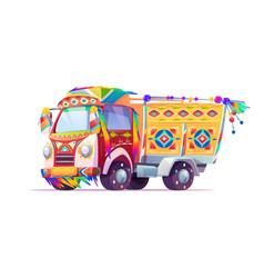 jingle truck indian or pakistan ornate transport vector image