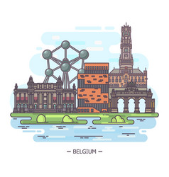 landmark places belgium at one sight vector image