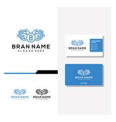 Letter b wing tech logo design and business card vector