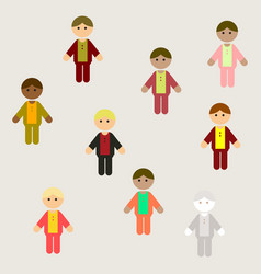 Little boys kids cute boys set poster background vector
