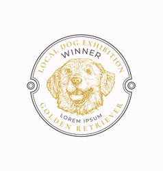 local dog exhibition frame badge or logo template vector image