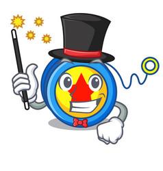 Magician yoyo mascot cartoon style vector