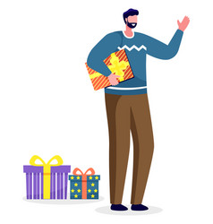 man making presents on holiday male with gifts vector image